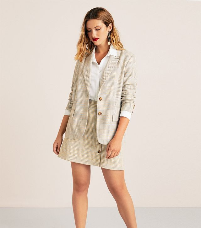 Violeta by Mango Check Cotton Blazer