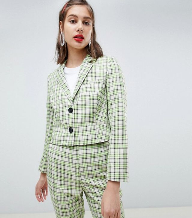 tailored yellow and green check blazer