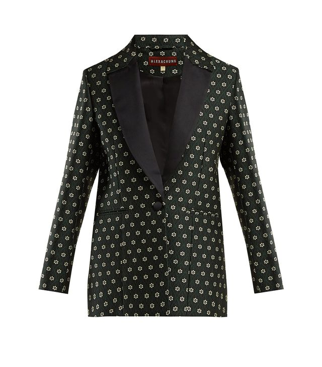 Single-breasted floral-jacquard blazer