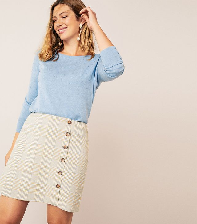 Violeta by Mango Buttoned Check Skirt