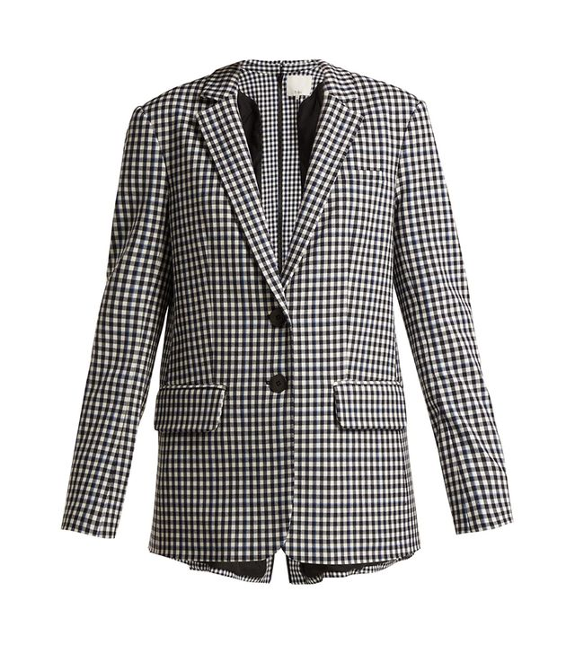 Single-breasted back-zip gingham blazer