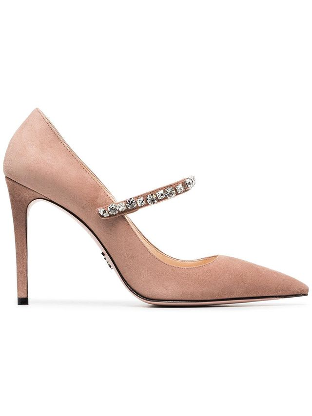 Pink Crystal Embellished 100 Suede Leather Pumps