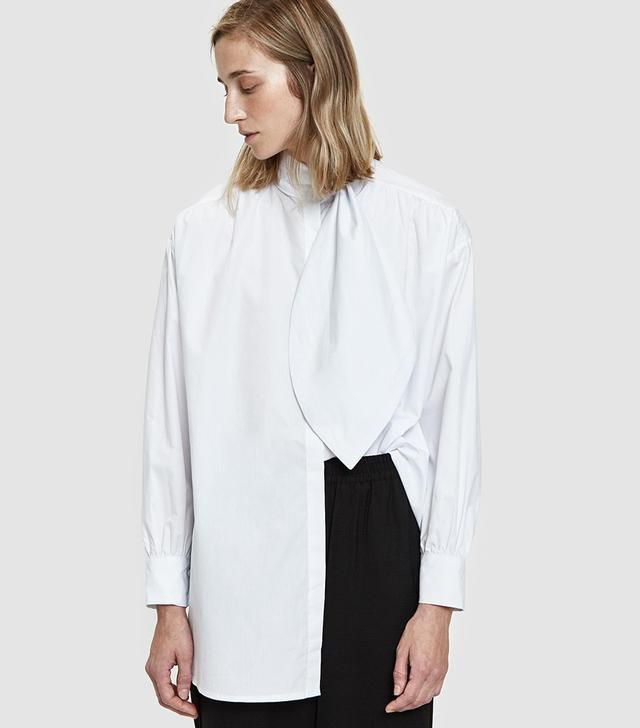 Valentina Tie Collar Top in White