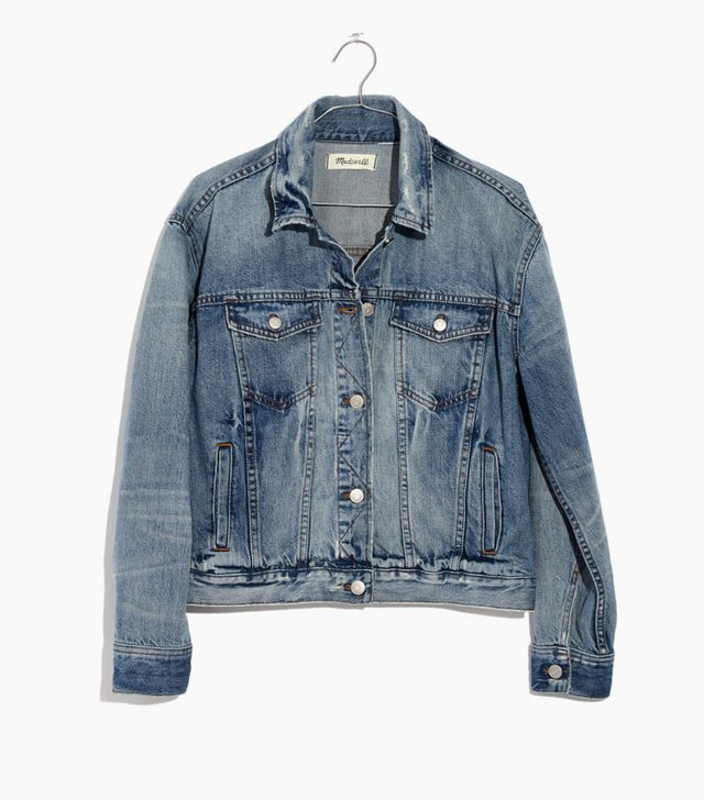 Madewell The Boxy-Crop Jean Jacket in Woodcourt Wash