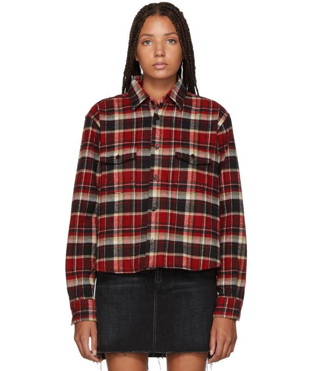 Saint Laurent Multicolor Oversized Cropped Plaid Shirt