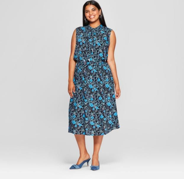 Floral Print Ruffle Placket Midi Dress