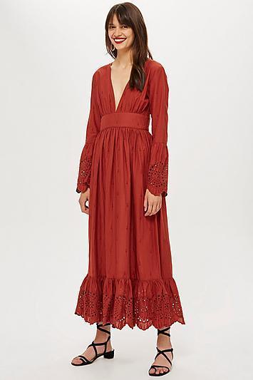 Embroidered Plunge Midi Dot Dress