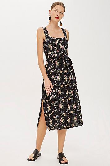 Linen Floral Pinafore Dress