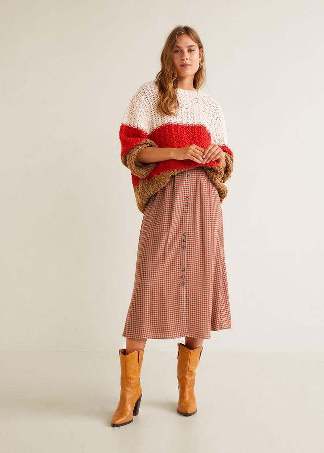 Mango Checked Linen Skirt