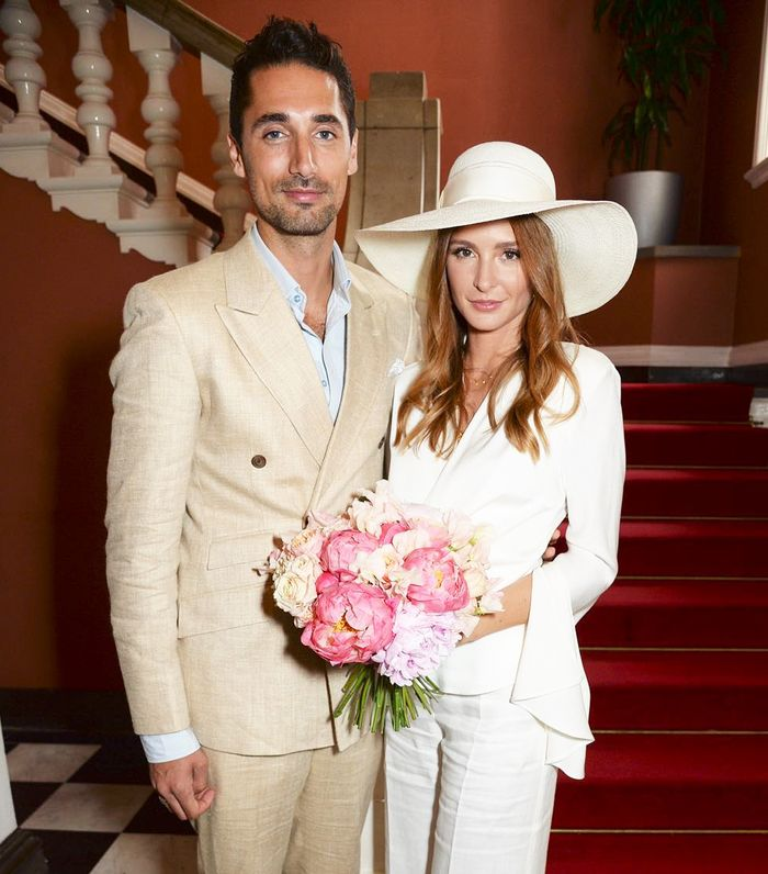 Best bridal trouser suits: Millie Mackintosh in a bridal trouser suit from Les Heroines