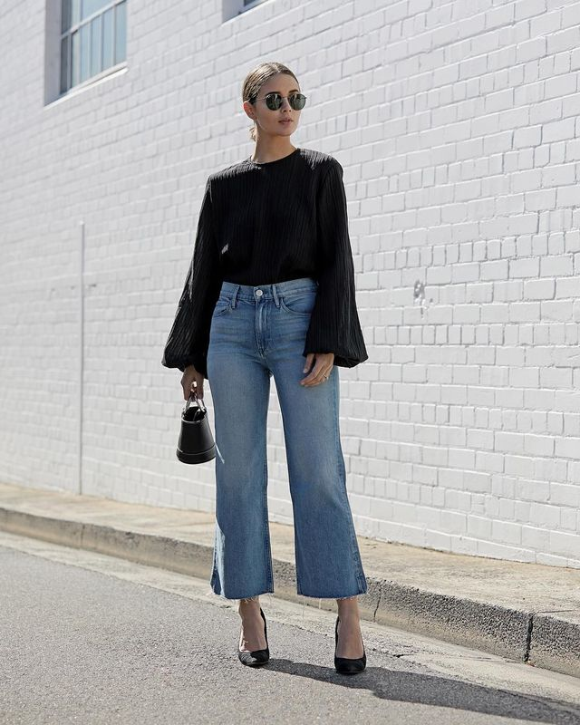 wide-leg-jean outfits for fall: yellow camisole