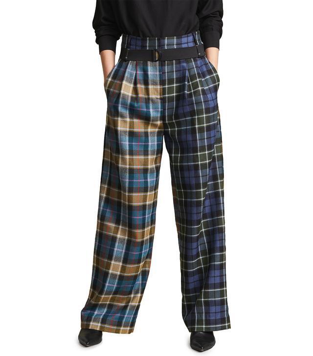 Tartan Pleated Pants With Belt