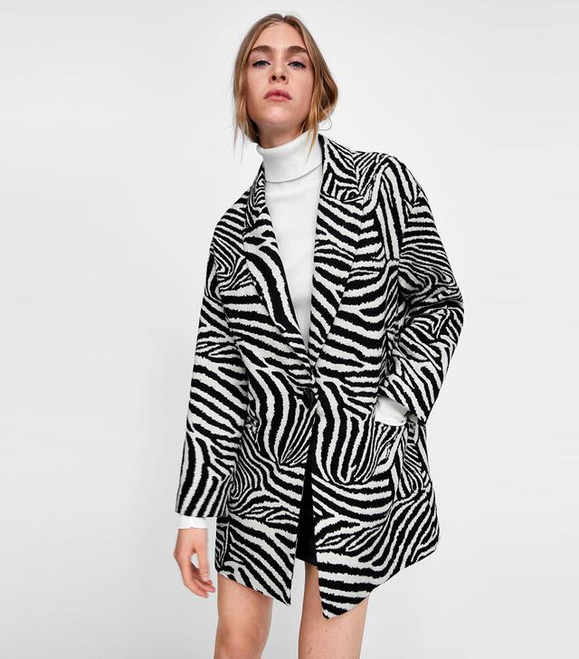 Zara Oversized Blazer in Zebra Print Jacquard