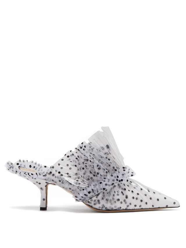 Polka-dot tulle and PVC mules