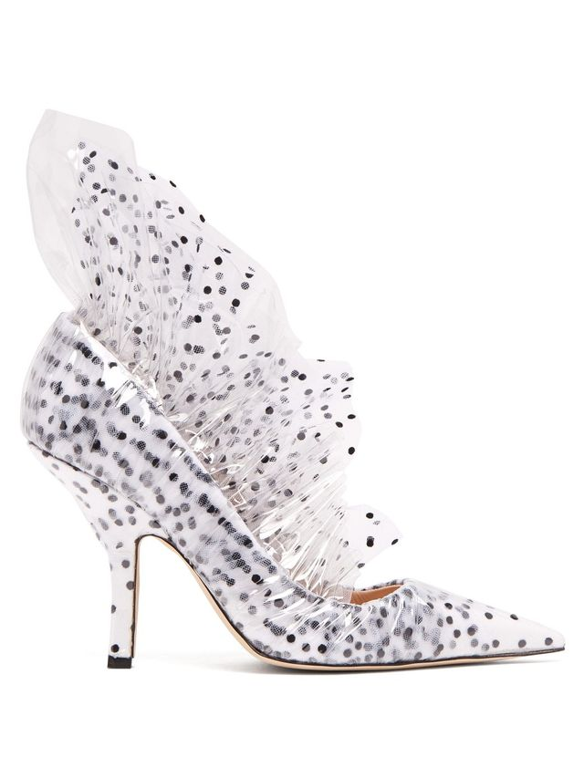 Shell polka-dot PVC and tulle pumps
