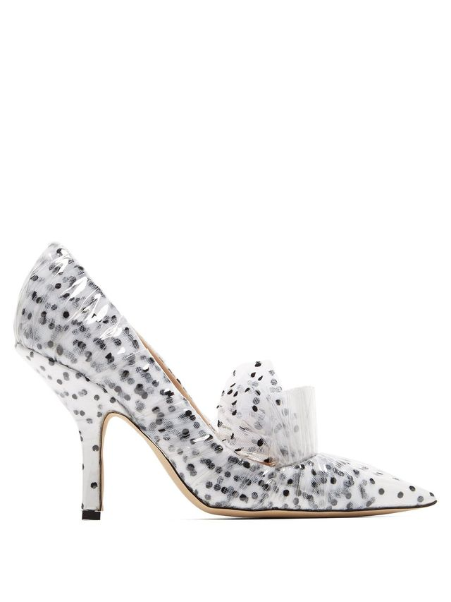 Polka-dot tulle and PVC pumps