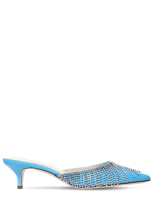 60MM EMBELLISHED LEATHER MULES