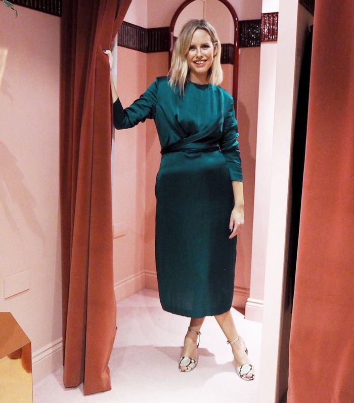 What to Wear to a Fancy Restaurant: Alex Steadman in a green silk dress