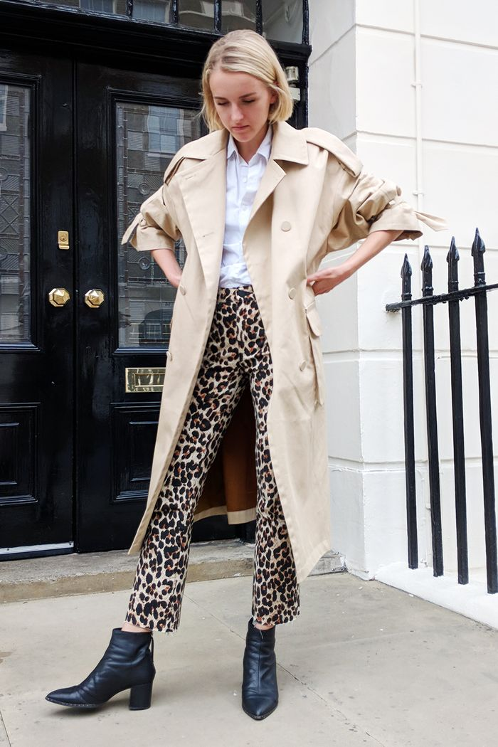 & Other Stories trench coat worn by Joy Montgomery with leopard print trousers