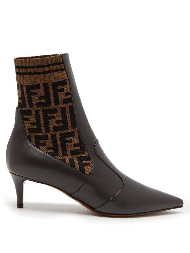 Point-toe leather sock boots