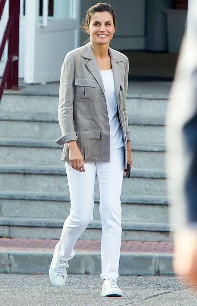 Queen Letizia Wearing Jeans and Sneakers