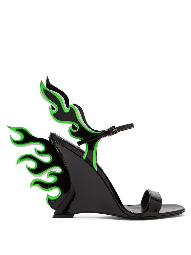 Flame patent-leather sandals