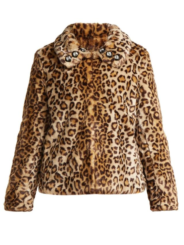 Junior leopard-print faux-fur jacket