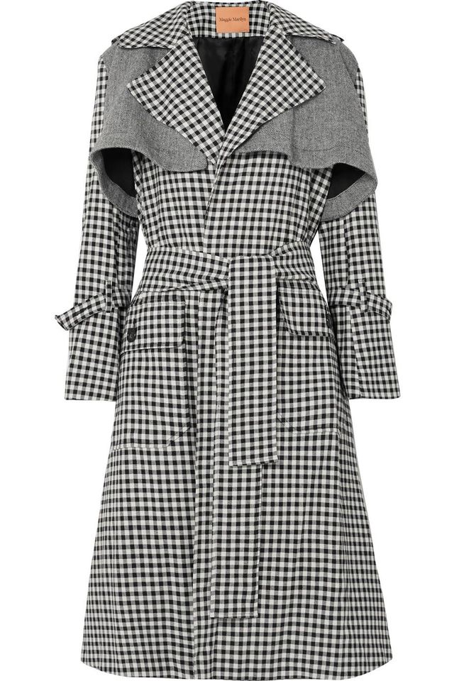 Be Strong And Courageous Gingham Cotton And Herringbone Wool Trench Coat