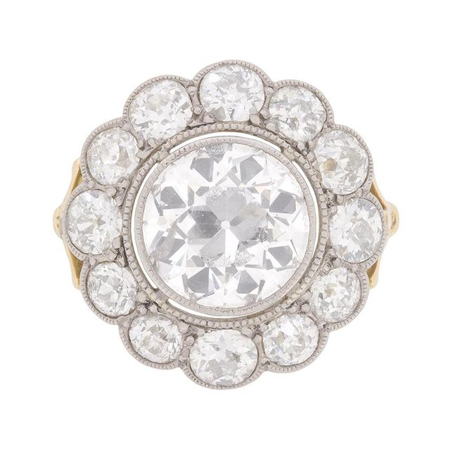 Vintage Edwardian 6.30 Carat Old Cut Diamond Cluster Ring c.1910s