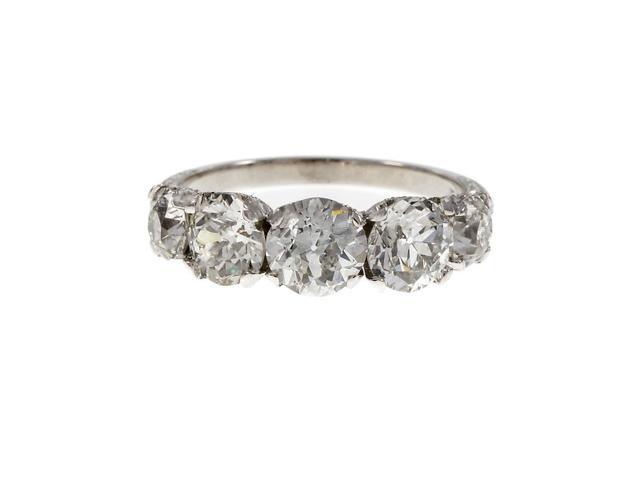 Peter Suchy Vintage Platinum 5 Old European Cut Diamond Band Ring