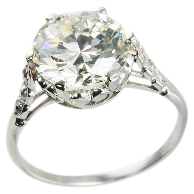 Vintage Edwardian 3.36 Carat old European Cut Diamond Platinum Ring