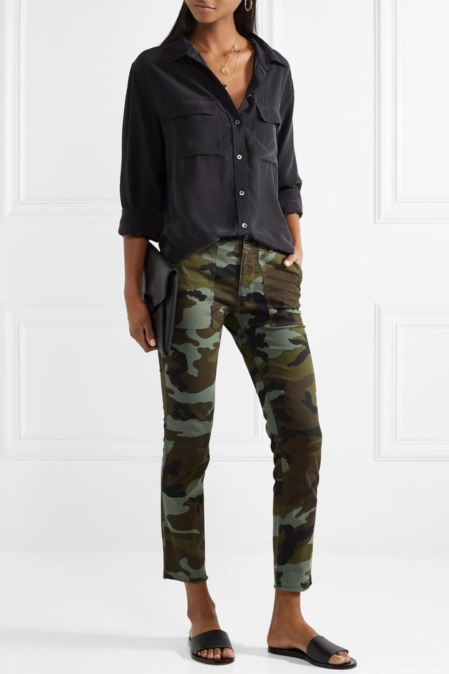 Jenna Camouflage-Print Stretch-Cotton Slim-Leg Pants
