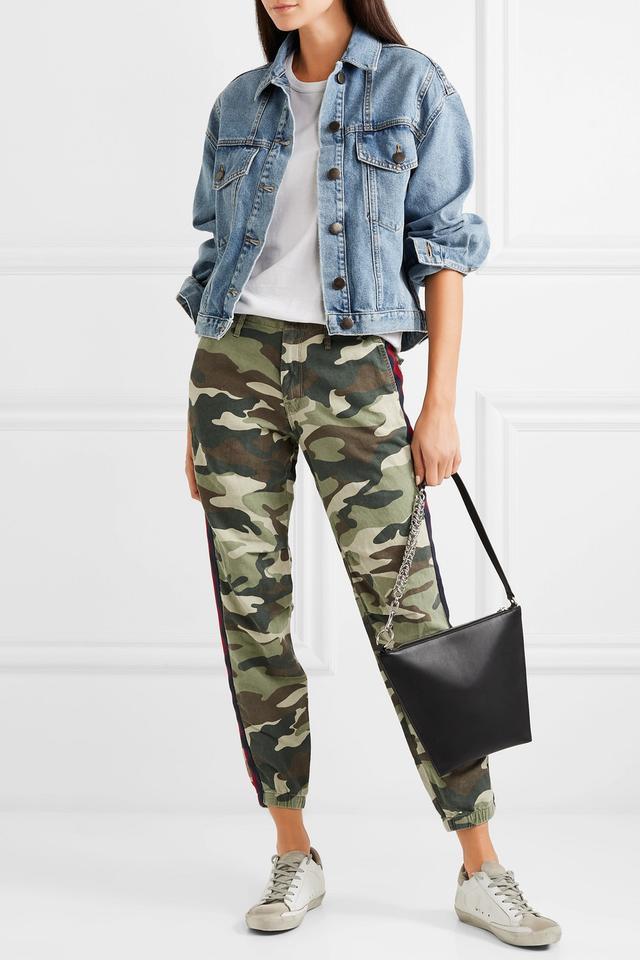 No Zip Misfit Striped Camouflage-Print Cotton-Blend Track Pants