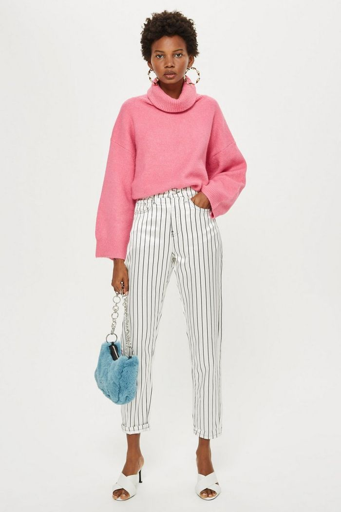 Sateen Striped Mom Jeans