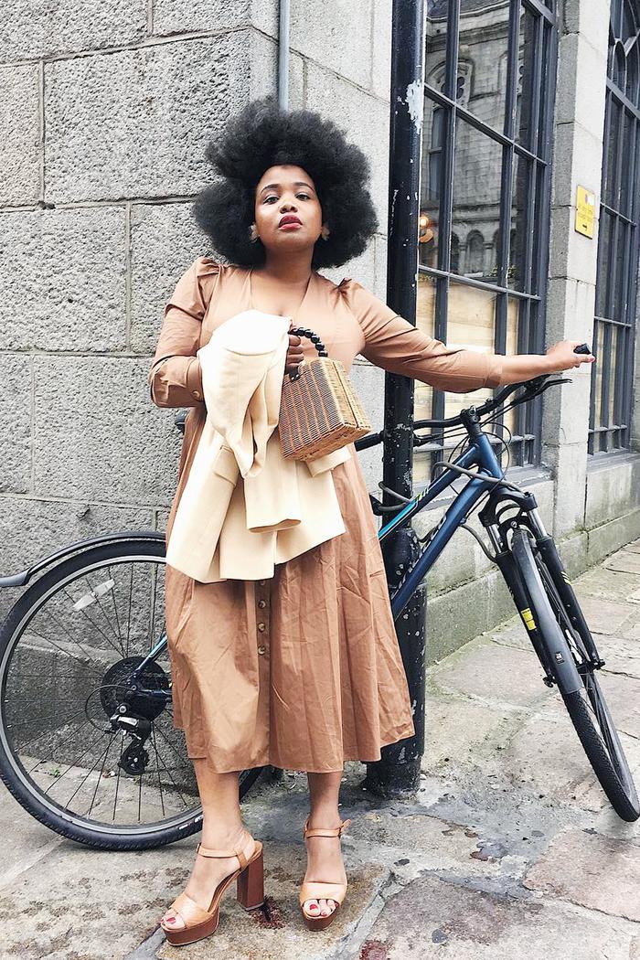 Best high-street bags: Ada Oguntodu holding Zara bag