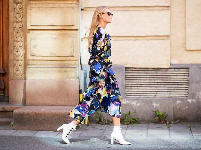 Dress and Ankle Boots Street Style