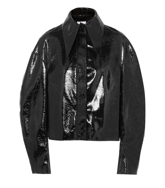 Cropped Coated Wool-blend Jacket