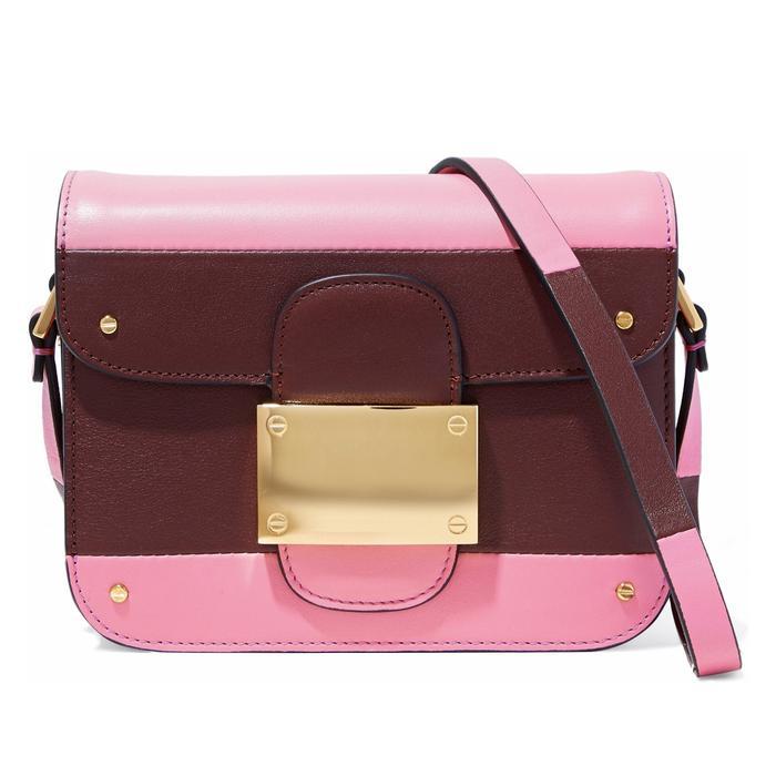 Valentino Rivet Color-Block Leather Shoulder Bag