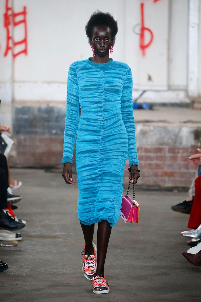 Ruched dress trend: neon blue dress on the House of Holland spring 2019 runway