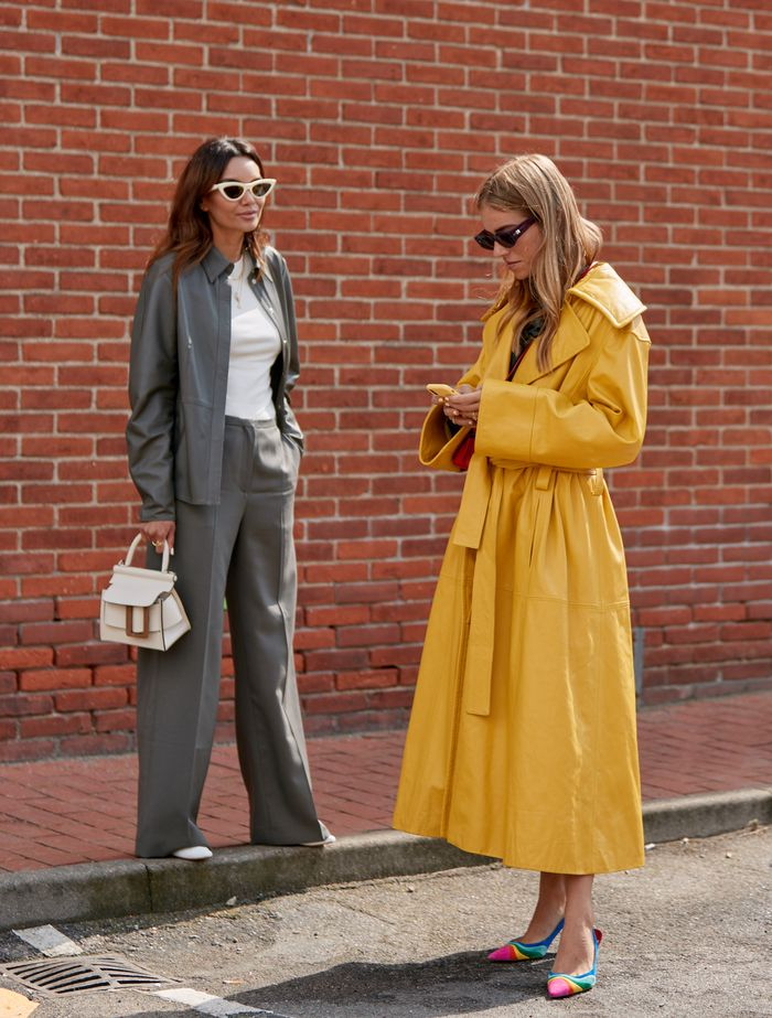 Autumn high street buys: trench coat and woman in grey suit