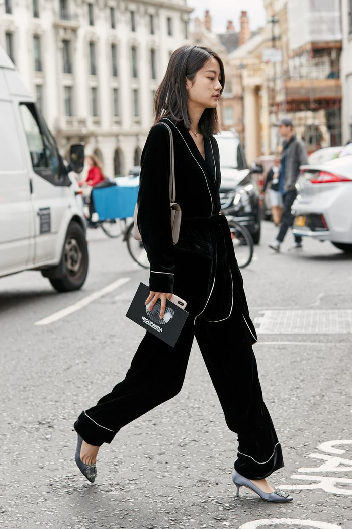 winter party outfits: pyjama separates seen at London Fashion Week and Manolo Blahnik court shoes