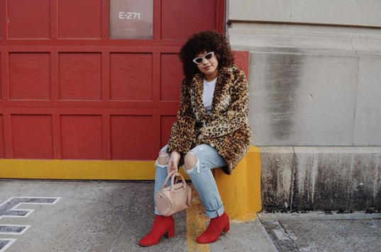 leopard print with red shoes