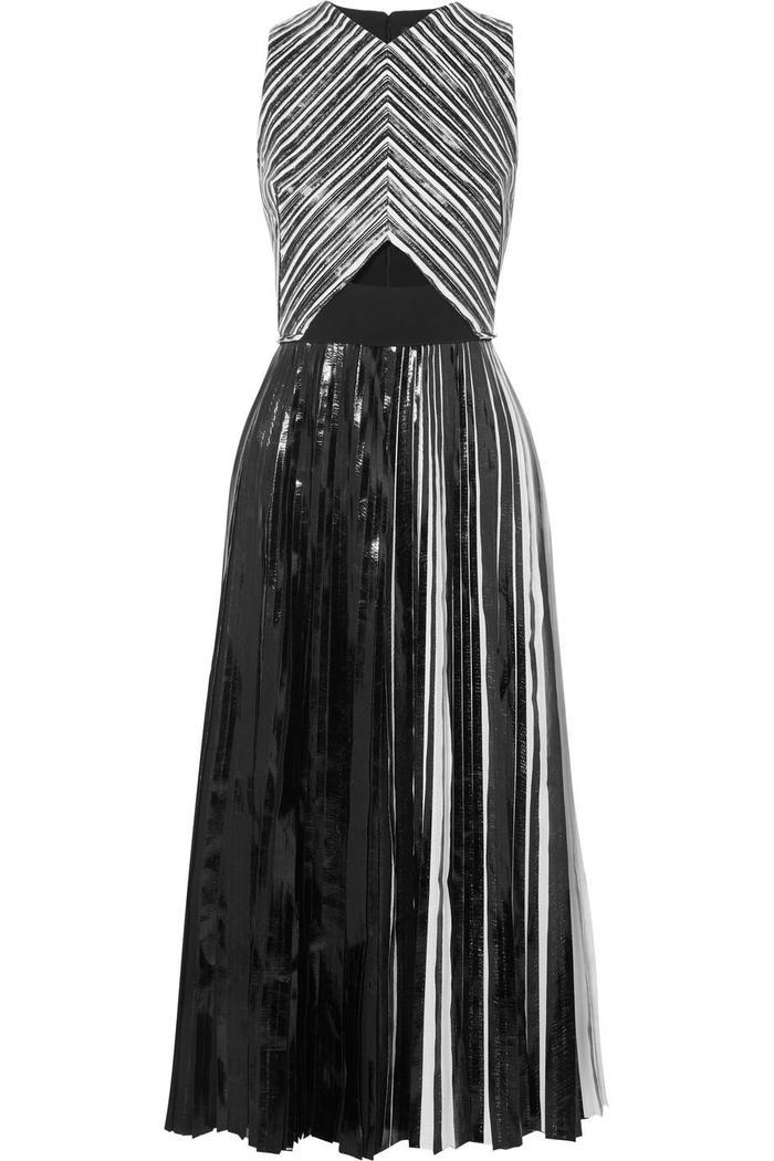 Pleated Coated-cloqué Midi Dress