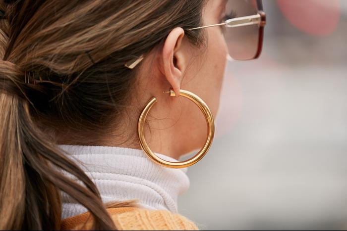 Thick gold hoop earrings