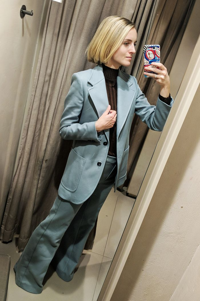 Best Mango items 2018: Joy Montgomery wearing Mango blue suit