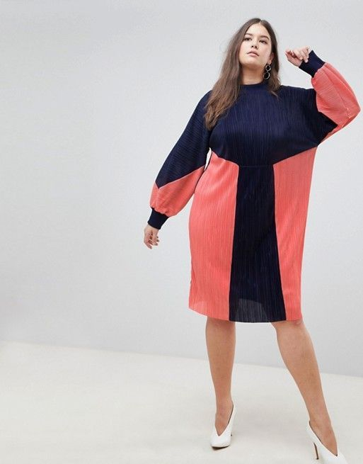 color block plisse sweat dresses for fall