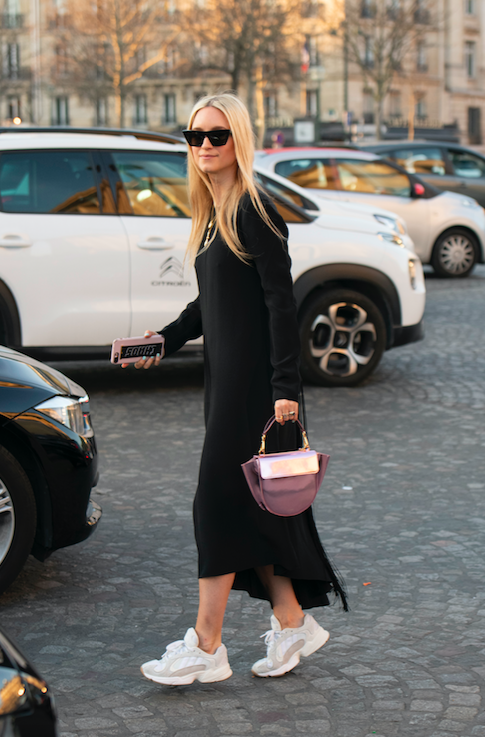 black dress and sneakers outfit