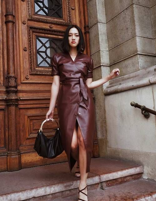 Best leather dresses: Tiffany Hsu wearing Nanushka leather dress