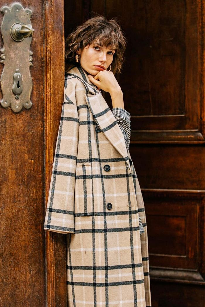 Best Reserved winter coats: model wearing checked coat