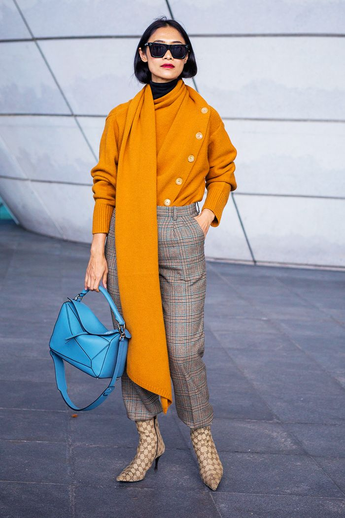 Joseph orange jumper worn by blogger at Paris Fashion Week
